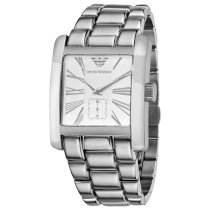 Emporio Armani Men's AR0182 Classic Stainless Steel Silver Roman Numeral Dial Watch