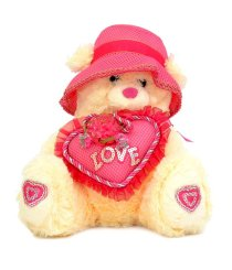 IGB Teddy Bear Cream with Rani Cap & Heart - 30 cm