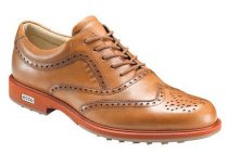 ECCO Men's Tour Hybrid Wingtip Spikeless Golf Shoes - Lion/Burnt Orange