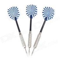 03 Dartboard Pattern Sharp Darts - Black + Silver + Blue (3 PCS) 03