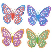 3D Dual Layers Wing Shining Hollow Butterfly Home Wall Decor Sticker - Multicolor (4 PCS)