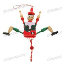Mini Vintage Wooden Mechanical Marionette Puppet Toys - Red + Green (Style Assorted)