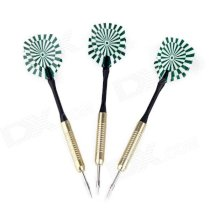 BL004 Dart Target Pattern Sharp Copper-Plated Iron Darts - Golden + Black + Green (3 PCS)