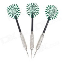 03 Dartboard Pattern Sharp Darts - Black + Silver + Green (3 PCS) 02