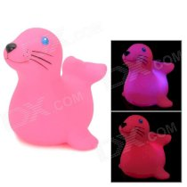 2074 Cute Children Bathing Funny LED Flashing Sea Lion Toy - Pink (2 x LR626)