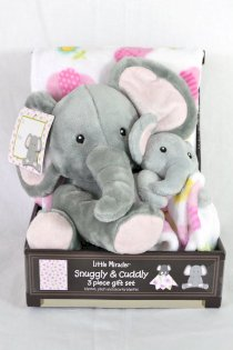 Little Miracles Reversible Blanket with Cozy Plush 3 Piece Gift Set - Elephants