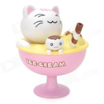 Cute Solar Power Ice Cream Cup Cat Shaking Head Decoration Toy - Pink + white + Yellow