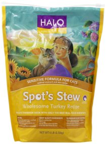 Halo Spot's Stew Natural Dry Cat Food, Sensitive Cat, Wholesome Turkey Recipe, 6-Pound Bag