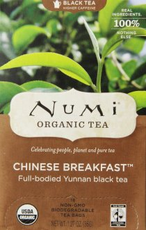 Numi Organic Tea Chinese Breakfast, Full Leaf Black Tea,1.27 oz, 18 Count Tea Bags