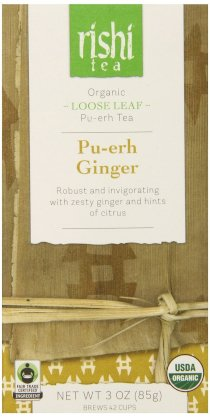 Rishi Tea Organic Pu-erh Ginger Loose Tea, 3 OZ (85g) box