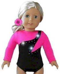 "New High Quality Hot Pink Gymnastics Dance Cheer Leotard - fits American Girl 18"" Doll Clothes"