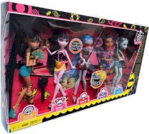 Monster High Gloom Beach Doll 5Pack Cleo de Nile, Draculaura, Clawdeen Wolf, Frankie Stein Exclusive Ghoulia Yelps