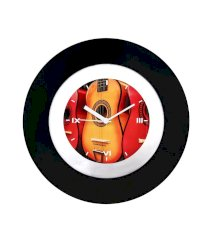 Cosmosgalaxy Black And Red Fiber And Acrylic Guitar Theme Wall Clock