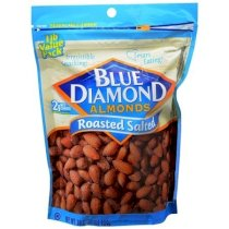 Blue Diamond Almonds Whole Roasted & Salted Resealable Zipper Bag 16 Oz