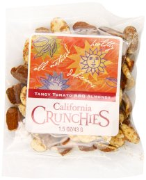 Nunes Farms California Almond Crunchies, Tangy Tomato BBQ, 1.5 Ounce (Pack of 72)