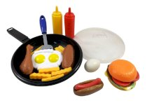 Fast Food Cooking Pan 25 Piece Kitchen Play Food Set for Kids (Cheese Burger, Hotdog, Chicken, & more)