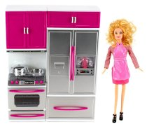 """My Modern Kitchen Stove & Refrigerator Battery Operated Toy Doll Kitchen Playset w/ Toy Doll, Lights, Sounds, Perfect for Use with 11-12"""" Tall Dolls"""