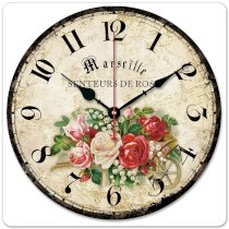 """iCasso 12"""" 30cm Vintage World Map Rose for Home Decoration Country Floral Wood Wall Clock Wooden Wall Art Decor"""