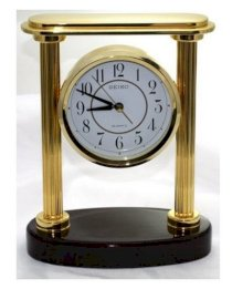 Solid Brass Desk Clock with Solid Wood Base Seiko QXG402