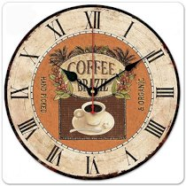 """iCasso 12"""" Retro Vintage Coffee Cup French Country Tuscan Style Non-Ticking Silent Wood Wall Clock Wooden Wall Art Decor"""