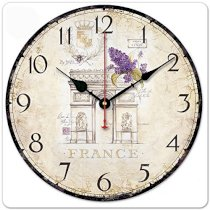 """iCasso 12"""" Retro Vintage Arch of Triumph France And Lavender Country House Wood Wall Clock Wooden Wall Art Decor"""