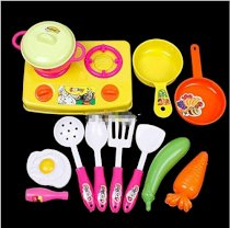 Plastic Child Kids Kitchen Cookware Food Play Spoon Pan Pot Toy Set
