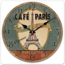 """iCasso 12"""" 30cm Vintage Paris French Eiffel Tower Retro Cafe Pure Coffee Wood Wall Clock Wooden Wall Art Decor"""