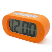 JCC Easy Setting Silicone Protective Cover Digital Silent LCD Large Screen Desk Bedside Alarm Clock with Snooze Light Function Batteries Powered (Orange)