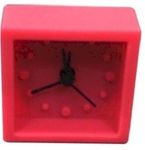 GoGifts Miniature Timepiece with Alarm -Square Analog Clock (Pink)
