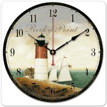 """iCasso 12"""" 30cm Vintage Lighthouse Tower in the Sea Navigation Maritime Pilots Ivory Color Wood Wall Clock Wooden Wall Art Decor"""