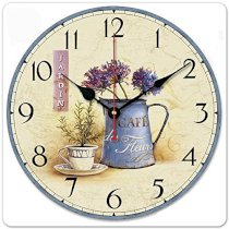 """iCasso 12"""" Retro Vintage the Art of Inserting Flowers Euro Country Tuscan Style Non-Ticking Silent Wooden Wall Clock Wooden Wall Art Decor"""