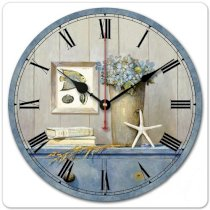 """iCasso 12"""" Retro Vintage Starfish Sea Life Pot Culture French Country Tuscan Style Non-Ticking Silent Wooden Wall Clock Wooden Wall Art Decor"""