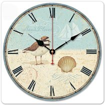 """iCasso 12"""" Rustic Country House Sea Theme Bird Shell Sail Boat Wooden Wall Clock Wooden Wall Art Decor"""