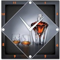 Amore Wine Glass Analog Wall Clock (Multicolor)