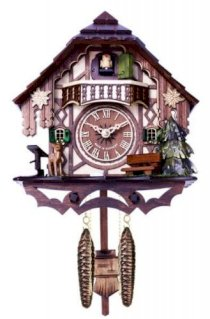 River city clocks musical cuckoo clock cottage with deer, water pump, and tree, 10-inch tall