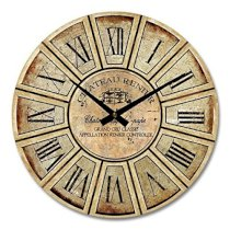 """iCasso 14"""" Retro Vintage Chateau Reiner French Country Tuscan Style Non-Ticking Silent Wood Wall Clock Wooden Wall Art Decor"""