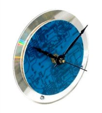 Recycled Circuit Board and CD Desk Clock for Nerds and Geeks (Blue)