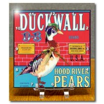 DC_171121_1 BLN Vintage Label and Advertising Art - Duckwall Brand hood River Pears with a Mallard Duck Crate Label - Desk Clocks - 6x6 Desk Clock