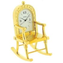 Miniature Gold Plated Metal Rocking Chair Novelty Collectors Clock IMP99