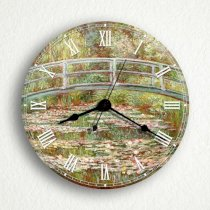 """Bridge Over a Pond of Water Lilies Monet 6"""" Silent Wall Clock (Includes Desk/Table Stand)"""