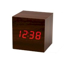 ZPS(TM) Mini Cube Style Digital Red LED Wooden Wood Desk Alarm Brown Clock Voice Control