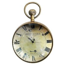 Eye of Time - Library Desk Clock - Features Compass and Clock in Bronze Casing with Magnified Glass - Authentic Models SC052