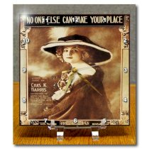 3dRose dc_171004_1 No One Else Can Take Your Place Pretty Woman in a Large Hat Desk Clock, 6 by 6-Inch
