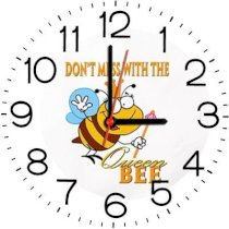 Ellicon B138 Don'T Mess With The Queen Bee Analog Wall Clock (White)