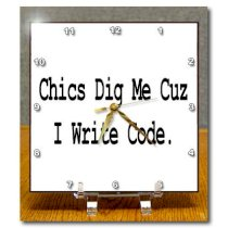 3dRose dc_150108_1 Chics Dig Me Cuz I Write Code Programmer Coder Computer Geek Humor Design Desk Clock, 6 by 6-Inch
