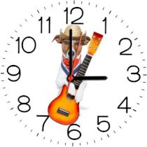 Ellicon B116 Funny Guitar Dog Analog Wall Clock (White)