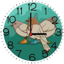 Ellicon B163 Pigeons With Sneakers Funny Analog Wall Clock (White)