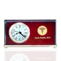Personalized Piano Finished Wood Wedge Clock for Doctors