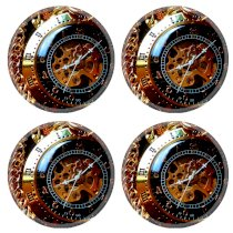 Steampunk Clock Work Pocket Watch Round Coaster (4 Piece) Set Fabric Rubber 5 Inch Size MSD Coaster Cup Mug Can Water Bottle Drink Coasters Stain Resistance Collector Kit Kitchen Table Top Desk
