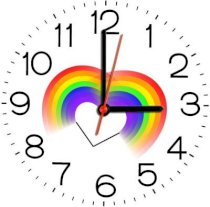 Ellicon 181 Double Rainbow Heart Analog Wall Clock (White)